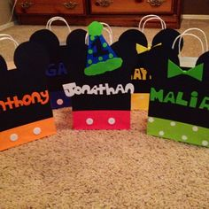 Mickey mouse party favor bags, treat bags, goody bags