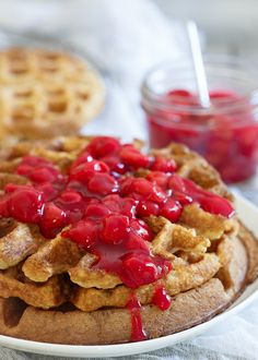 Cherry Oat Waffles. A sour cherry pie filling is piled high on hearty oat waffles for a morning treat! | #gotart @choosecherries