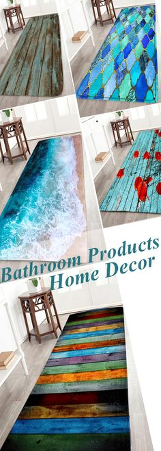 Plank Floral Soft Absorption Large Bathroom Rug HOME DECORE - Large bathroom floor mats for bathroom decorating ideas