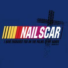 Christian sports parody t-shirt design for NASCAR fans.