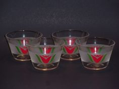 Vtg 1940's Set of 4 Very Rare Pyrex Red Tulip Custard Cups #462 Unworn as made #Pyrex