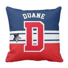 Dark Blue and Red Sport Letter Throw Pillow
