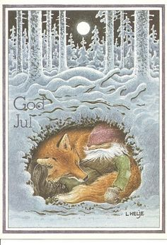 Swedish Christmas Card: gnome sleeping with a fox under the snowy forest.