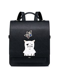 #AdoreWe #OOTD JUST STAR Black Sweet Small Embroideried Backpack - AdoreWe.com