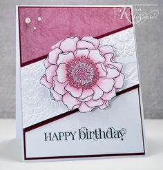 handmade birthday card ... black and white with mauves ... painted blossom ... card sketch with diagonal mid-panel ...