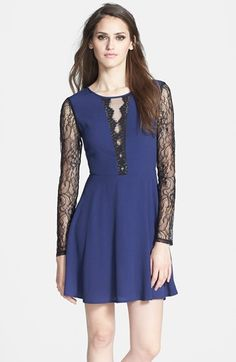 ASTR+Long+Sleeve+Lace+Detail+Fit+&+Flare+Dress+available+at+#Nordstrom