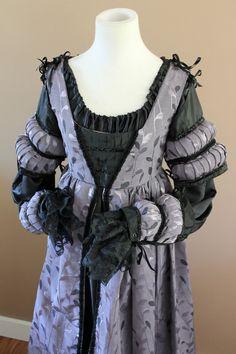 "ON HOLD Bust 34"" Black and Lilac Italian Borgia Lucrezia Dress Renaissance Medieval Game of Thrones Tudor Gown"