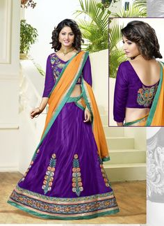 Make the heads flip whenever you dress up in this charming purple net a line lehenga choli. Beautified with embroidered and patch border work all synchronized properly with the pattern and style of th...