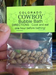 Colorado cowboy bubble bath-great gag gift or stocking stuffer! Gag Gifts Christmas, Cowboy Christmas, Christmas Humor, Christmas Fun, Santa Gifts, Redneck Christmas, Redneck Gifts, Redneck Party, Redneck Humor