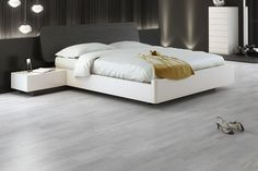 Parkett Eik hvit/grå børstet matt Flooring, Bed, Basement, Furniture, Home Decor, Minimalistic Kitchen, Houses, Floating Floor, Salon Marocain
