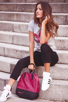 Love the outfit and Adidas! This b my type gym swag lol Adidas Fashion, Sport Fashion, Teen Fashion, Fitness Fashion, High Fashion, Fashion Outfits, Womens Fashion, Adidas Cap, Sporty Outfits