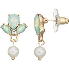 LC Lauren Conrad Mint Green Cluster & Simulated Pearl Drop Earrings ($11) ❤ liked on Polyvore featuring jewelry, earrings, lt green, mint drop earrings, faux pearl drop earrings, drop earrings, dangle earrings and earring jewelry