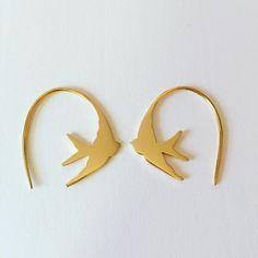 Gold Swallow Earrings #swallowearrings #stillsopopular #louisewadejewellery Swallow, Enamel, Jewellery, Earrings, Gold, Accessories, Ear Rings, Vitreous Enamel, Jewels