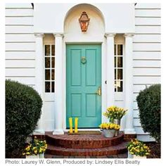 Love the sea foam green front door!