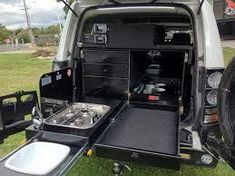 Custom made drawers, drawers, kitchen system, under tray drawers, ute drawers Camping Set Up, Jeep Camping, Diy Camping, Camping Kitchen, Motorhome, Offroad, Land Cruiser 4x4, Ute Canopy, Vw California T6