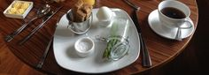 Asparagus with Duck Egg, breakfast at The Cranleigh Hotel, Lake District.