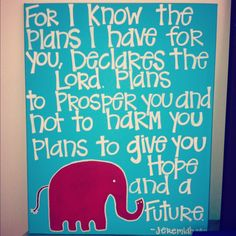 Blue Bible Verse Canvas with Red Elephant. $40.00, via Etsy.