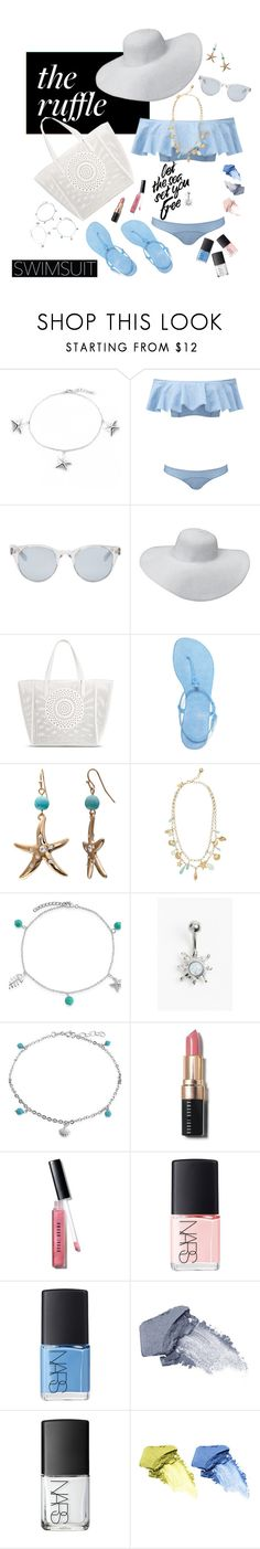 """""""Let the sea set you free"""" by melliflusous ❤ liked on Polyvore featuring Bling Jewelry, Lisa Marie Fernandez, Sun Buddies, Merona, Tory Burch, Mixit, Kate Spade, Bobbi Brown Cosmetics, NARS Cosmetics and Origins"""