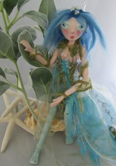 SEA NYMPH clay ball jointed puppet art doll, handmade in the USA