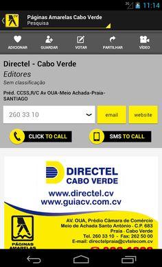 Informação detalhada sobre o perfil das empresas como o e-mail, website, produtos, serviços, marcas, entre outras.  www.paginasamarelas.cv