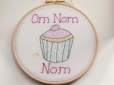 Om Nom Nom cupcake embroidery by Hextrovert on Etsy, Pastel Colors, Colours, Colored Contacts, Good Enough To Eat, Cotton Thread, Different Colors, Nom Nom, Cupcake, My Etsy Shop