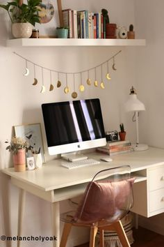 This Hammered Metal Moon Cycle Banner is cute simple decor, can hang up anywhere. love the gold metal detail delicate banner to hang. home decor, Study Room Decor, Cute Room Decor, Room Ideas Bedroom, Bedroom Decor, Teen Bedroom Desk, Diy Room Ideas, Master Bedroom, Modern Room Decor, Easy Diy Room Decor