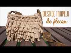 Bolso de trapillo con flecos - YouTube Crochet T Shirts, Crochet Fabric, Fabric Yarn, Freeform Crochet, Crochet Patterns, Diy Purse Making, Yarn Bag, Pouch Pattern, Diy Handbag