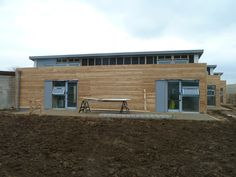 Larch cladding used to the rear north facing elevation. The 'north-lights' up on the roof give great daylight to the classrooms