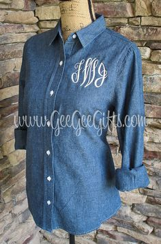 Monogrammed Chambray Button Down Shirt by itsgeegeebaby on Etsy