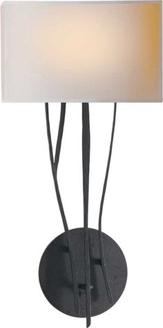 """ASPEN WALL SCONCE 18x9x5"""" bkplt. natural paper shade, black rust or brushed"""