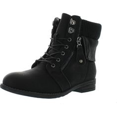 Via Pinky Sky-02 Women's Lace Up Foldable Ankle Bootie Western Style... (£38) ❤ liked on Polyvore featuring shoes, boots, ankle booties, black, black bootie, black ankle boots, black lace up boots, black ankle booties and black cowboy boots