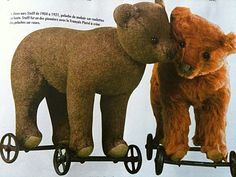 Steiff 1904 and a Steiff 1921 bears on wheels. True love lasts forever