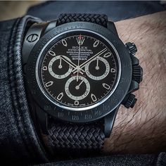 Customize black Rolex Daytona. Beautiful wrist shot.
