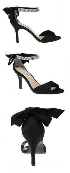 Charming bow pumps with crystal ankle strap | Nina Shoes Vinnie http://ninashoes.com/vinnie-black-luster-satin--18200?utm_source=Pinterest&utm_medium=Social%20Media%20Campaign&utm_campaign=Vinnie%20Black