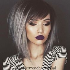 25 Silver Hair Color Looks that are Absolutely Gorgeous – Balayage Haare Bob Hair Color, Haircut And Color, Haircut Style, Medium Hair Styles, Short Hair Styles, Medium Length Hair With Layers And Side Bangs, Bob With Side Fringe, Straight Fringes, Colorful Hair