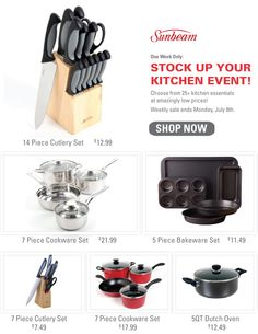Stock up at our Kitchen Event, incredible prices on well-known brands. This week only!