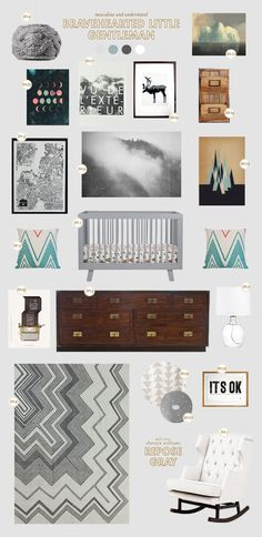 Repose Gray (SW 7015) is highlighted as the wall color in this inspiration board by @Joni Wells Lay