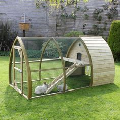 The Salisbury Rabbit House is a beautifully shaped, arching, Rabbit Haven with a run integrated into its design. Perfect to keep your rabbits safe and sound as well as adding a lovely piece of architecture to your garden (shown here is the chicken coop version with slimmer ramp) NEW DESIGN FOR 2017 - SPECIAL INTRODUCTORY PRICE OF £599.00 This spacious rabbit and guinea pig house with its arched timber design is made, here in Dorset, from curved joinery-quality Swedish redwood timber. The…