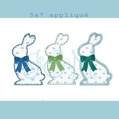 THIS LISTING IS A DIGITAL PRODUCT. YOU WILL NEED AN EMBROIDERY MACHINE AND WAY TO TRANSFER THE FILES TO USE IT. These three are super sweet and perfect for any easter project. Each bunny has a different top stitch and feel free to skip the bows for another look. Files included are PES, HUS,