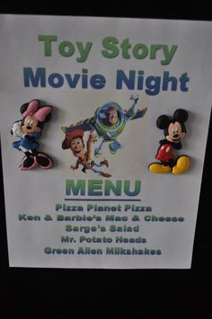 Disney Movie Nights!! Themed Dinners followed by the movie!! 10 movies featured on this post. Such a cute idea for family nights :P