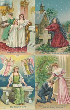 THE LORD'S PRAYER-Set of 8 Vintage Embossed Religious Greetings Postcards-ppp44