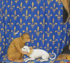 couple embracing on fleurs-de-lysTraictés de Pierre Salemon a Charles VI roy de France, Paris 1412-1415. Bibliothèque de Genève, Ms. fr. 165, fol. 4r