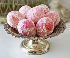 Pink & lace Easter eggs