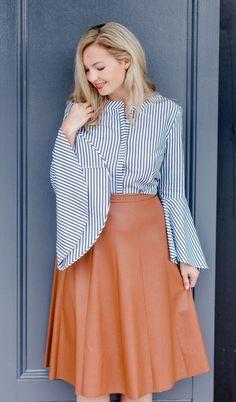 ca595cf2af Makeup by Juice Beauty (Organic) Rebecca Taylor Vegan Leather Midi Skirt    Similar (Shorter) Version c o ONE Boutique. Bloom Girl Blog