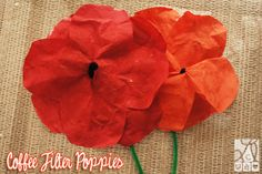 poppies made from coffee filters