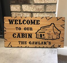 Personalized Cabin Sign/Welcome to Our Cabin/New Home Housewarming Gift/ Lake Life/ Rustic Decor/Hand Carved Cedar Wood Sign/Cabin Life Sign by ASignofInterest on Etsy