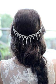 Rhinestone Drop Chain Headpiece, Bridal Headpiece, Boho Headpiece, Gatsby Headpiece, Vintage Headpiece, Weddings, Accessories