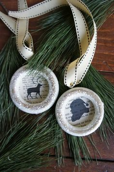 Christmas Ornament Silhouette of Santa and his Reindeer on vintage curtain rings by Upscale Downhome