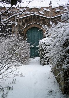 A secret door ~ St Botolph's Church, Cambridge, UK. It rather reminds me of Narnia. Garden Doors, Garden Gates, Narnia, Gothic Garden, When One Door Closes, Winter Scenes, Snow Scenes, Winter Garden, Doorway