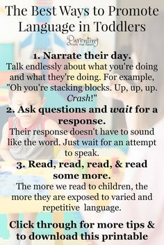Here are six ways to promote language development in toddlers and young children. They're simple strategies that work. via Here are six ways to promote language development in toddlers and young children. They're simple strategies that work. Toddler Learning Activities, Speech Therapy Activities, Parenting Toddlers, Language Activities, Parenting Hacks, Outdoor Activities, Childcare Activities, Parenting Ideas, Foster Parenting